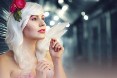 Tilt Lens Photography of Woman With Flower Headband Stock Image