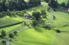 Tilt Shift Aerial View of Agricultural Fields Stock Photo