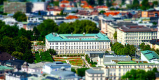 Tilt-shift aerial view to Salzburg, miniature effect Royalty Free Stock Images