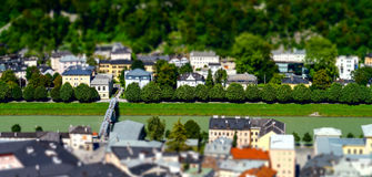 Tilt-shift aerial view to Salzburg, miniature effect Stock Images