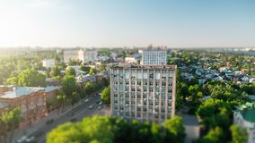 Tilt shift blurred city Voronezh, panoramic modern cityscape skyline in summer sunny day, aerial view.  royalty free stock images