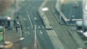 Tilt shift cars on the road. Traffic in the city, tilt shift and time lapse stock video