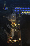 Strasbourg - Christmas Capital. Tilt-shift of a Christmas City at night. Strasbourg, Alsace, France Royalty Free Stock Photography