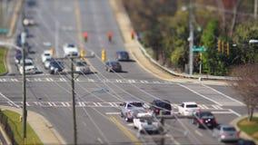 Tilt shift city intersection Stock Photo