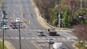 Tilt shift city intersection Royalty Free Stock Photography