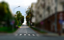 Tilt-shift city street with cross walk. Traffic signs and buildi. Ngs Stock Photography
