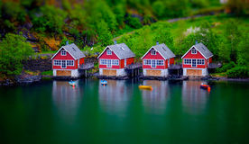 Tilt shift effect on boat houses Stock Image