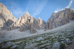 Tilt shift effect of dolomitic pinnacles at the foot of Tofana southern wall. Cortina d`Ampezzo, Italy stock photo
