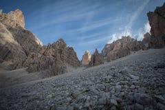Tilt shift effect of rocky pinnacles at the foot of Tofana southern wall. Cortina d`Ampezzo, Italy royalty free stock photos