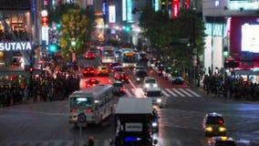 Tilt-shift (fake miniature) and time-lapse shot of Shibuya's main road crossing stock video