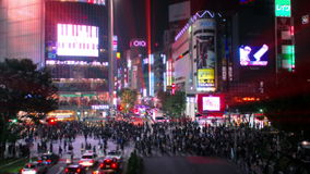Tilt-shift (fake miniature) and time-lapse shot of Shibuya's main road crossing stock footage