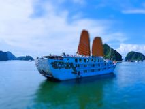 Tilt Shift Of The famous Halong Bay Stock Images