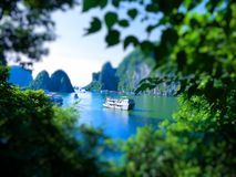 Tilt Shift Of The famous Halong Bay Royalty Free Stock Photography