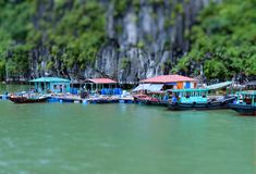 Tilt Shift Of Fishermen Floating Village Royalty Free Stock Photos