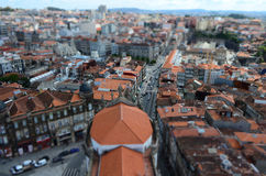 Tilt Shift Focus of City View from Clérigos Church Tower in Porto, Portugal Stock Photos
