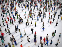Tilt shift focus on a large group of people. 3D Rendering. Tilt shift focus effect on a large group of people on white background. 3D Rendering stock illustration
