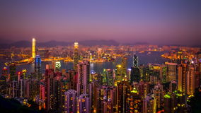 Tilt shift. Hong Kong skyline aerial view at sunset. Time lapse stock video footage