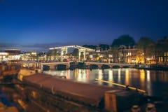 Tilt shift image of skinny bridge in Amsterdam, the Netherlands Royalty Free Stock Image