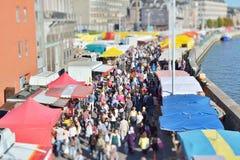 Tilt-shift image of Sunday market in Liege. Stock Image