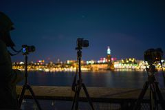 Tilt Shift Lens Photography of Camera With Tripod royalty free stock photos