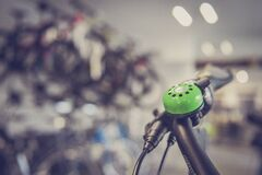 Tilt Shift Lens Photography Green Bicycle Bell Switch Royalty Free Stock Image