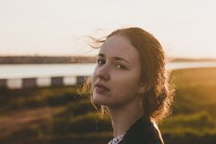 Tilt Shift Lens Photography of Woman during Sunset Royalty Free Stock Image