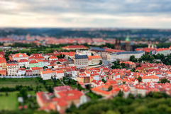 Tilt-shift miniature effect of the Prague cityscape Royalty Free Stock Image