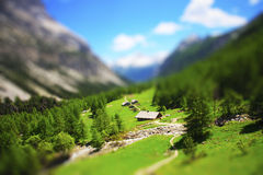 Tilt Shift montain valley - Italy Royalty Free Stock Photography