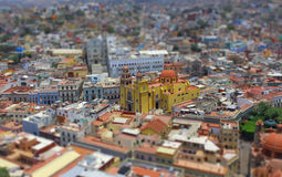 Tilt-shift panorama of Guanajuato, Mexico Royalty Free Stock Image