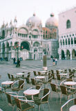 Tilt shift photo of cafe near basilica San Marco and Palace of d Royalty Free Stock Image