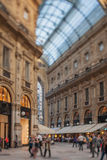 Tilt shift photo of Gallery Vittorio Emanuele II in Milan, Italy Royalty Free Stock Photos