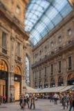 Tilt shift photo of Gallery Vittorio Emanuele II in Milan, Italy Royalty Free Stock Photos