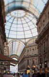 Tilt shift photo of Gallery Vittorio Emanuele II in Milan. Soft Stock Photo