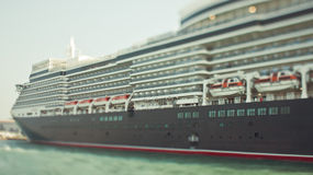 Tilt-shift photo of big and beatiful cruise ship Royalty Free Stock Images