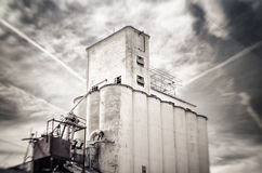 Tilt shift photo of old obsolete flour grain silo, Mesa, Arizona Stock Images