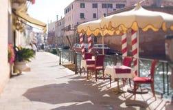 Tilt shift photo of restaurant in Venice Stock Photography