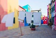 Tilt shift photo in street of Burano island Stock Photography