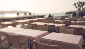 Tilt shift photo of Venice restaurant Stock Images