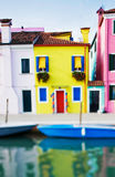Tilt shift photo of yellow house in Burano island near Venice Stock Photos