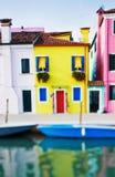 Tilt shift photo of yellow house in Burano island near Venice Stock Photos