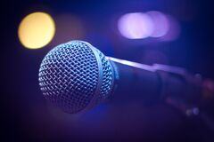 Tilt Shift Photograph of Gray and Black Microphone Royalty Free Stock Photos
