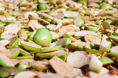 Tilt shift with pieces of apples Royalty Free Stock Photo