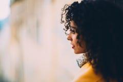 Tilt shift portrait of curly brazilian lady royalty free stock photo