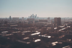 Tilt shift shooting of cityscape from high point royalty free stock photography