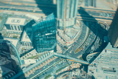 Tilt shift shooting of Dubai hightway road, view from top Stock Image