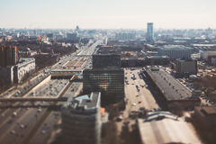 Tilt-shift shooting of highway on bright day Royalty Free Stock Image