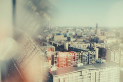 Tilt shift shooting of residential district Royalty Free Stock Photo