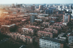 Tilt shift shooting of residential district Stock Images