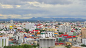 Tilt-shift style of Town with cloud sky. Time lapse of Town with cloud sky - Pattaya town , Thailand stock footage