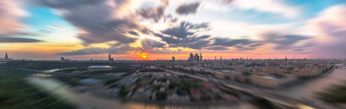Tilt and shift sunset view of Moscow sunset panorama Royalty Free Stock Photography